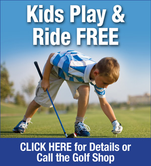 Photo of Boy Golfer promoting the following special: Kids 16 and under Play and Ride Free when accompanied by an adult player, Monday through Friday all day and after 11am on the weekends and holidays
